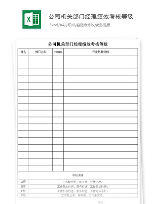 公司机关部门经理绩效考核等级Excel模板